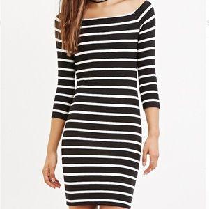 stripped forever 21 boat neck dress